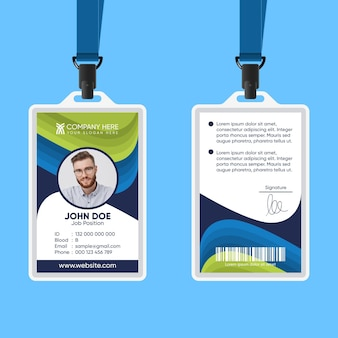 Abstract id card on blue background