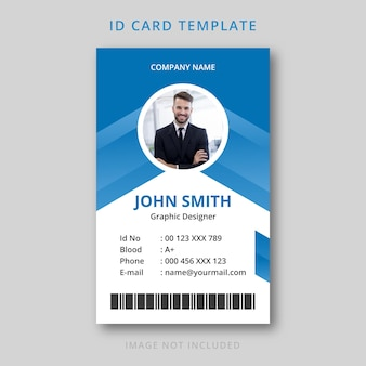 Abstract id card blue gradient template