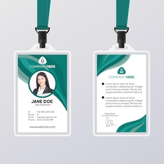 Abstract id card green template