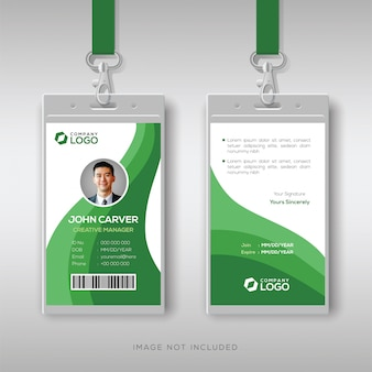 Abstract id card template with green details