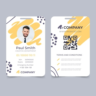 Abstract id card template with photo place holder