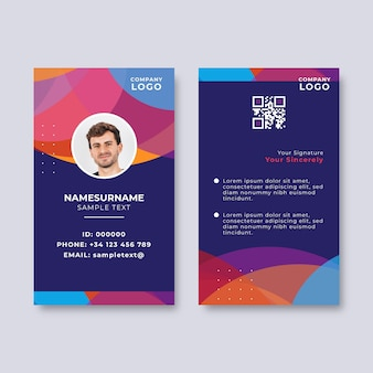 Abstract id card with photo place holder