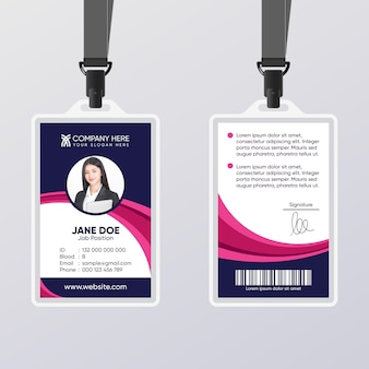 Abstract id card with photo template