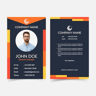 Abstract id cards front and back template
