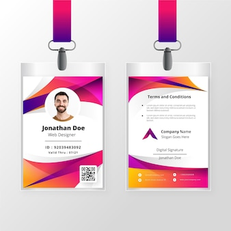 Abstract id cards template concept
