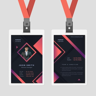 Abstract id cards template design
