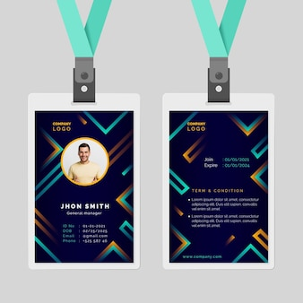 Abstract id cards template style
