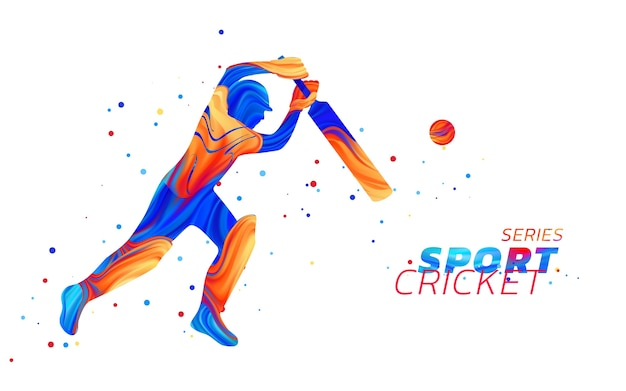 Abstract illustration of batsman playing cricket from colored liquid splashes
