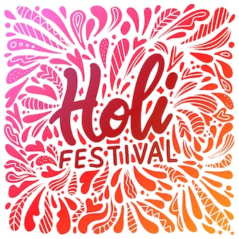Abstract illustration of colorful happy holi  for festival of colors celebration greetings with hand lettering