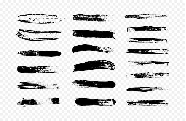 黒のブラシストロークのコレクションの抽象的なイラスト。