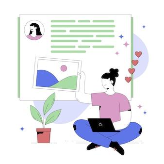 ソーシャルメディアの投稿を作成する人の抽象的なイラスト