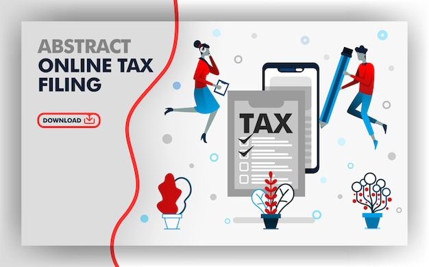 Abstract illustration online tax filing