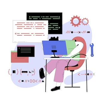 Abstract illustration of person programming