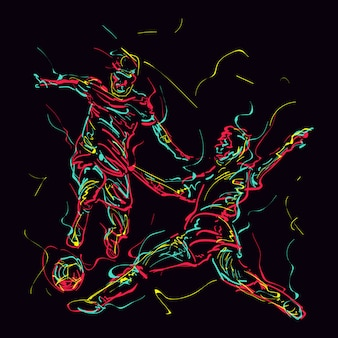 Abstract illustration of two soccer players are fighting over the ball