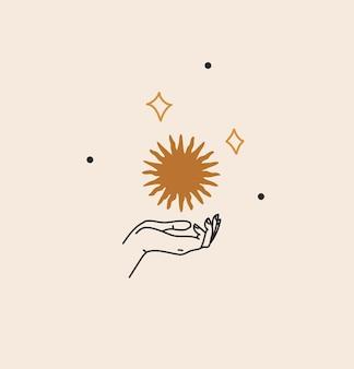 브랜딩 로고가 있는 추상 그림, 여성 손의 보헤미안 천상의 라인 아트, 별