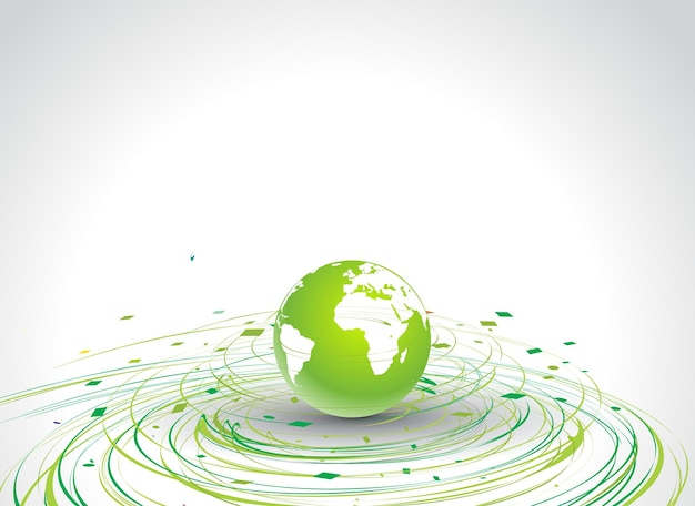 Abstract illustration with circle wave line globe in eco background, vector illustration