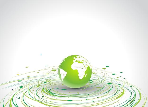 エコ背景の円波線地球儀、ベクトルイラストの抽象的なイラスト