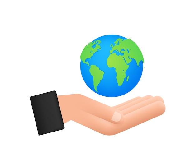 Абстрактная иллюстрация с землей в руках. счастливого дня земли. знак планеты. рука рисовать.