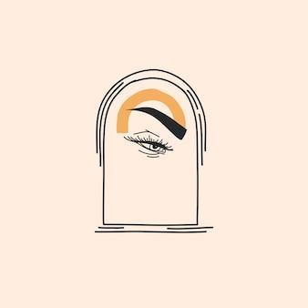 로고 요소가 있는 추상 그림, 신비한 라인 아치 포털의 점성술 마법 상징