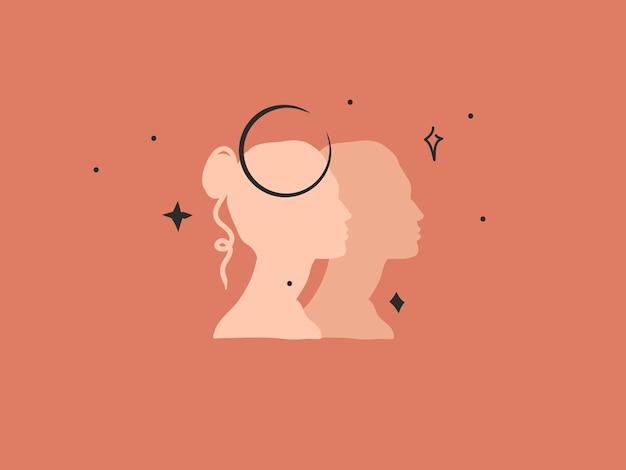 Абстрактная иллюстрация с элементом логотипа, богемное магическое искусство полумесяца, женские силуэты
