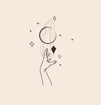 Абстрактная иллюстрация с элементом логотипа, богемное магическое искусство кристалла, силуэт, полумесяц