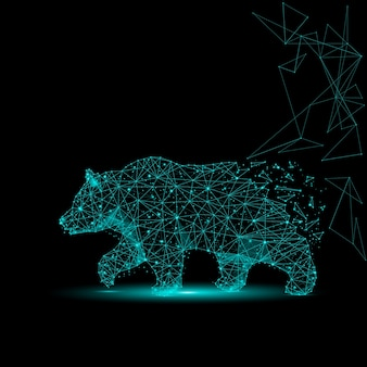 Abstract image of a bear in the form of a starry sky or space, consisting of points, lines, and shapes in the form of planets, stars and the universe.
