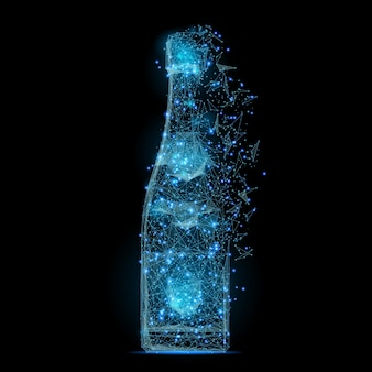 Abstract image of a bottle of champagne low poly in the form of a starry sky or space,