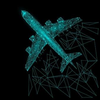 Абстрактное изображение вида сверху авиалайнера в виде звездного неба или космоса, состоящее из точек, линий и фигур в виде планет, звезд и вселенной.