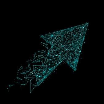 Абстрактное изображение стрелки в виде звездного неба или космоса, состоящее из точек, линий и фигур в виде планет, звезд и вселенной.