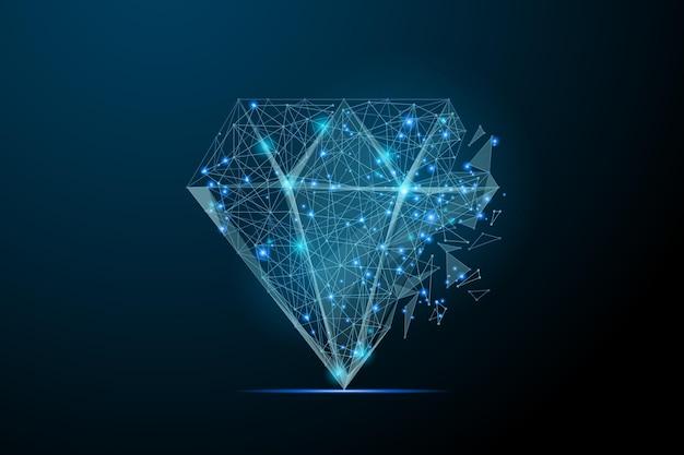 별이 빛나는 하늘 또는 점선으로 구성된 공간 형태의 다이아몬드 추상 이미지