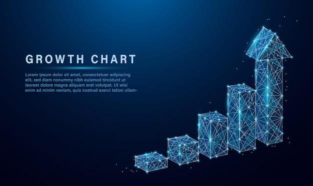 Абстрактное изображение диаграммы роста светящегося синего цвета. низкополигональная частица и дизайн в стиле треугольника.