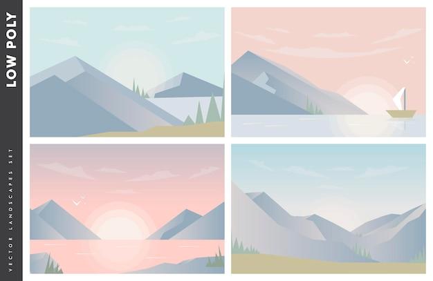 背景の山と前景の川または湖に沈む夕日または夜明けの太陽の抽象的なイメージ。山の風景。低ポリベクトルイラスト。