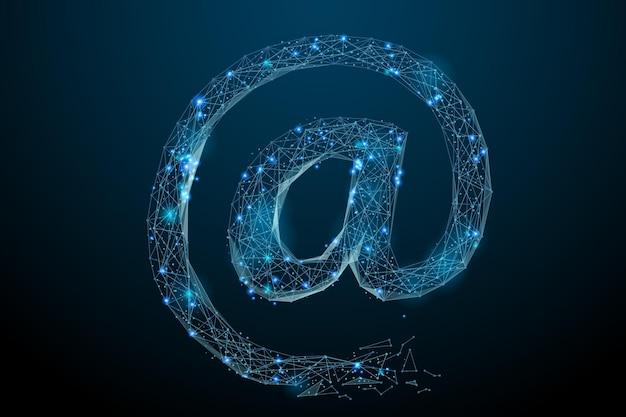 星空または点線で構成される空間の形で電子メールシンボルの抽象的なイメージ