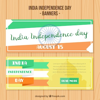 Abstract india independence day banners