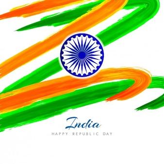 水彩画の曲線と抽象的なインドの背景
