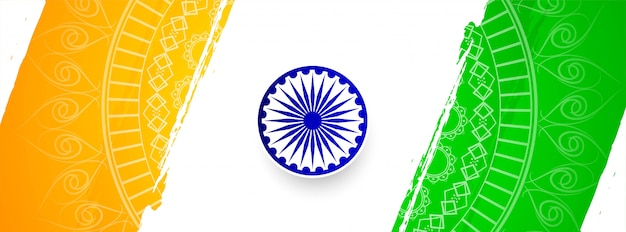 Abstract indian flag theme elegant banner template