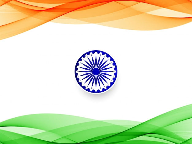 Abstract indian flag wavy  background