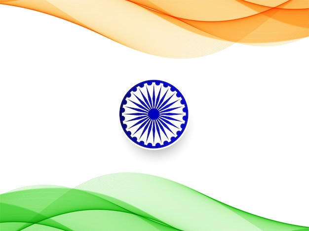 Abstract indian flag wavy design background