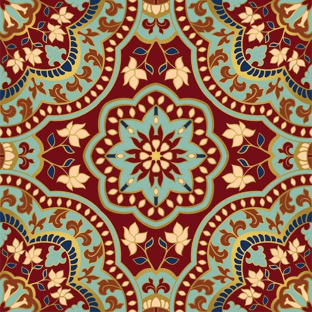Abstract indian pattern with mandala  template for textile carpet shawl