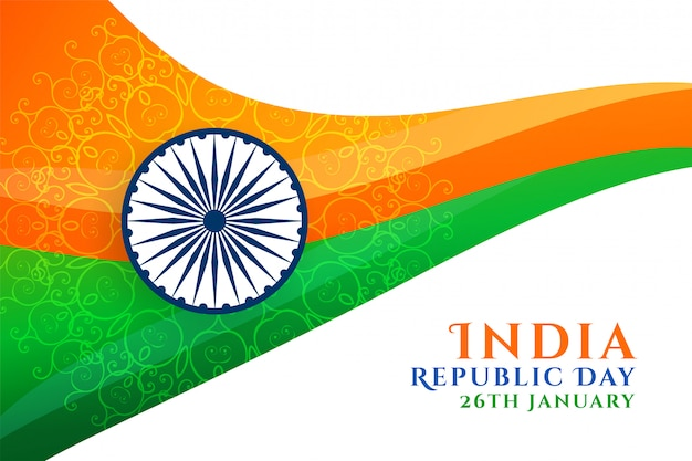 Abstract indian republic day wavy flag design