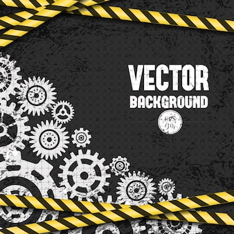 Abstract industrial background with cogwheels and yellow construction tape