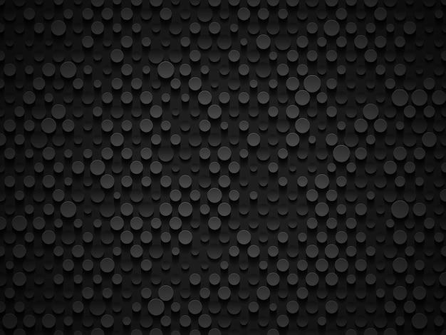 Абстрактная промышленная реалистичная текстура цилиндра объема тиснения, депрессивный круг черный фон, 3d геометрический узор. кибер-фон с круглыми точками. цифровые футуристические векторные обои техно.