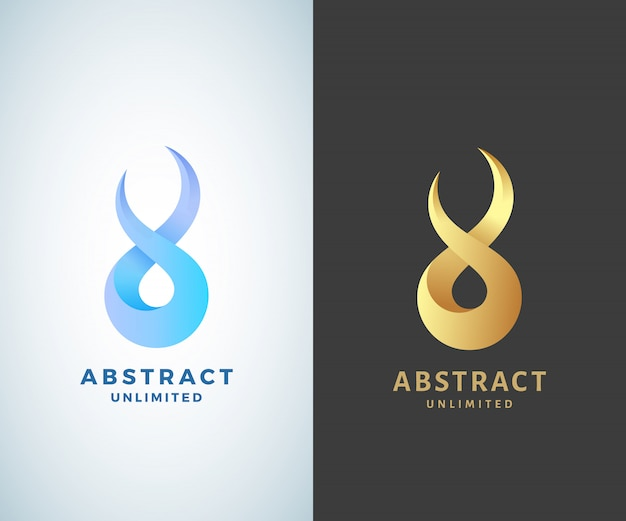 Abstract  infinity sign, emblem or logo template. golden on a dark background and isolated modern gradient versions