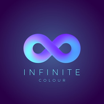 Abstract infinity symbol with modern gradient and typography. on dark background