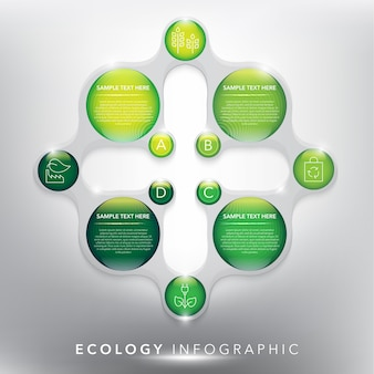 4つのオプションの抽象的な情報グラフィックテンプレート。生態学、環境概念に使用できます。