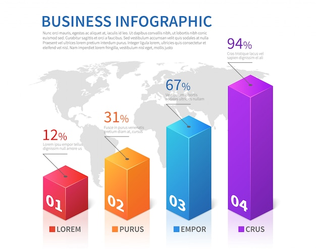 Abstract infographic 3d template bar finance with world map vector chart