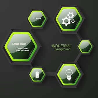 Abstract infographic concept with dark glossy hexagons with green edging white text and icons