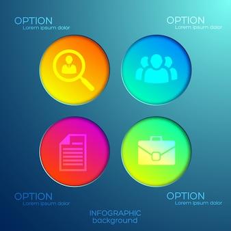Concetto astratto infographic con quattro opzioni pulsanti rotondi colorati e icone