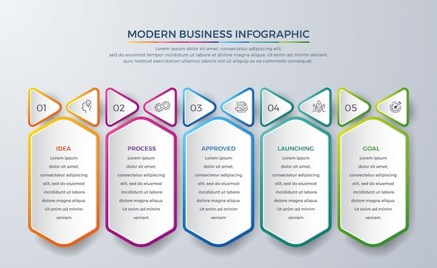 Abstract infographic design with 5 process or steps.