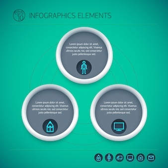 分離された緑の背景に3つのオプションとアイコンを丸で囲んだ抽象的なインフォグラフィック要素